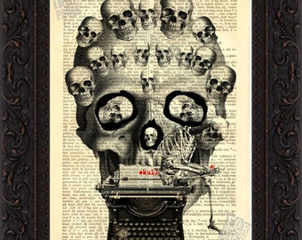 Skulls with Typewriter Print on vintage  upcycled  French English Dictionary Page