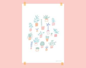 "A4 poster / ""Pastel plants"""