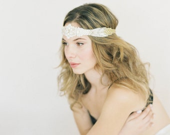 """Art Deco Wedding Head Piece / Belt with pearls, crystals, gold and silver """"Adair"""""""