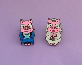 Simpsons Wedding Cuff Links Piggy Bride and Groom Enamel Cufflinks Cartoon Pigs Men's