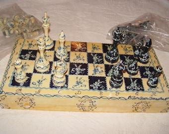 "18"" Scandinavian Rosemaled Signed Pine Folding Chess Set carved and handmade c. 1940's - 50's"