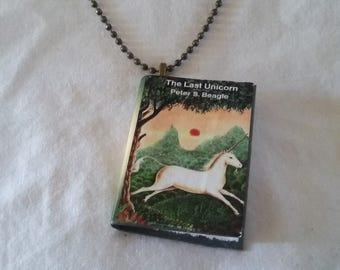 The Last Unicorn Book Pendant - The Last Unicorn Book Jewelry - The Last Unicorn Book Ornament -  The Last Unicorn Necklace The Last Unicorn