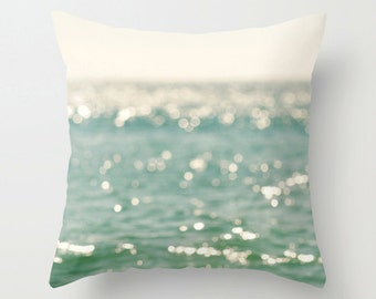 peppermint blue throw pillow cover, beach pillow cover, bokeh, white, abstract, beach photography, coastal nautical decor 18x18