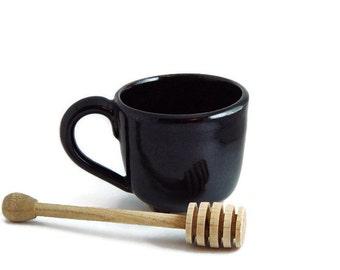 "8 oz ounce Unique Tea Cup / pottery Mug, Dark Brown earth tone ""Depths"", Wheel Thrown Pottery ceramic stoneware"