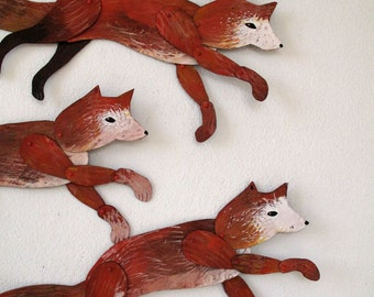 Leaping Fox / Hand-painted Articulated Decoration  / Hinged Beasts Series