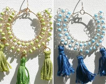 Beaded Boho Dangle Earrings Blue Green, Tassel Handmade Earrings, Wire Crochet Earrings Bohemian Chic