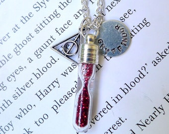 Gryffindor Hourglass Necklace. Harry Potter Jewelry. Gryffindor Necklace. Harry Potter Necklace. Hogwarts House Points Necklace. HP Necklace