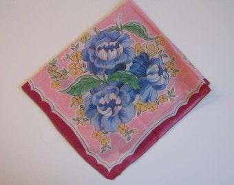 60s Pink Floral Handkerchief // Blue Rose Hankie // Vintage Hankie