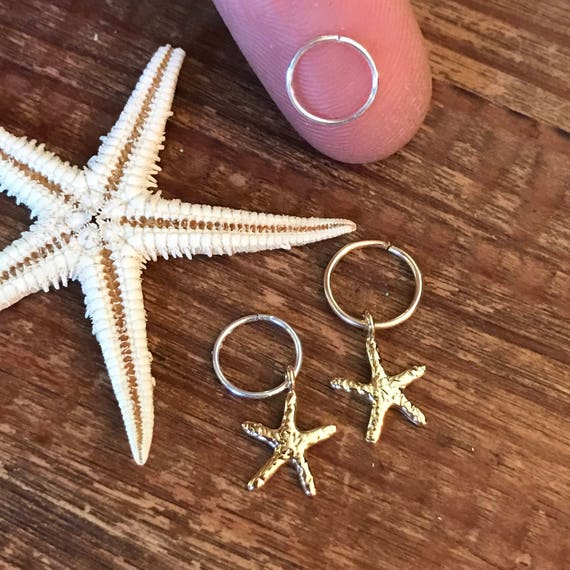 Cartilage Earring Hoop Tiny Starfish Beach Gift under 20 Endless Ring Gold Silver Star Tragus Helix Hex Septum Rook Conch Piercing Mermaid