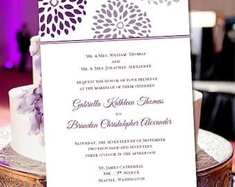 "Printable Wedding Invitation Template ""Floral Petals"" Purple Plum Make Your Own Wedding Invitations Instant Download All Colors DIY U Print"