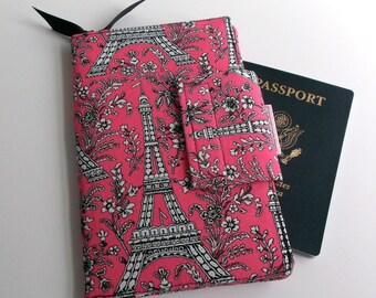 Travel or Passport Organizer Wallet Smart phone Wallet Pink and Black Paris Eiffel Tower