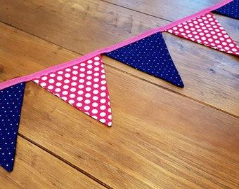 Handmade Spotty Bunting - Blue & Pink polka dots