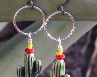 Earrings-Saguaro Cactus Moon and Sleeping Beauty Turquoise For You Mom Girlfriend Wife Sister Someone Who Loves You For San Xavier Mission