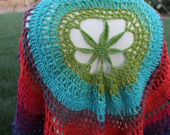 Weed Leaf Shawl, Womens M Vest, Mandala Vest, Boho Vest, Hippy vest, Colorful crochet vest, Concert Vest, Beach coverup, Circle Vest