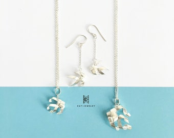Origami Jewelry Silver Fish Ring Set Necklace Earring