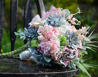 Succulent Bouquet. Mint and Peach Bouquet. Succulent Bridal Bouquet. Rustic Wedding.