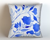 Royal Blue Floral & Cream Background, Throw Pillow Cover, Original Watercolor Artwork, Super Soft Velveteen 16x16. 18x18. 20x20, 22x22