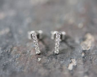 tiny bar stud with cubic zirconia
