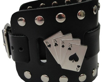 Aces and Eights Concho Handmade Black Buckle Wide Genuine Leather Watchband Military Biker Rocker U.S.A. NYC Cuff Wristband Bracelet