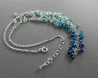 Luxurious cluster ombre blue Y-shape lariat sterling silver necklace with small agate stones - Agate necklace - Lariat necklace - NK065