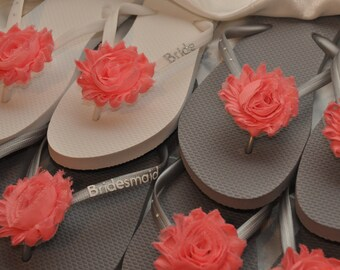 Free USA Shipping! Custom WEDDING Flip Flops BRIDESMAID Bride Flip Flops, Personalized Flower Flip Flops, Bridesmaid Gifts, Beach Weddings