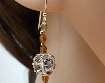 Rhinestone ball earrings, with Czech glass beads and goldfill fishhook ear wires