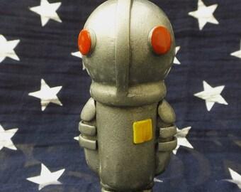 Rupert the Robot Polymer Clay Robot Sculpture Figurine Retro Robot Miniature