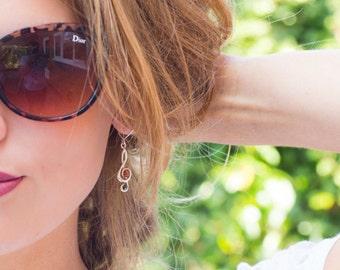 Amber Treble Clef Earrings, Music Note Earrings, Treble Clef Jewellery, Music Teacher Gift, Music Lover Gift, Music Jewellery, Music Note