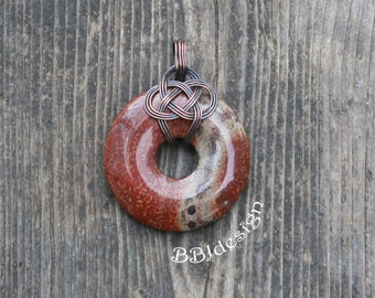 Red Jasper Gemstone Donut Pendant Necklace Copper Wire Wrapped Celtic Knot