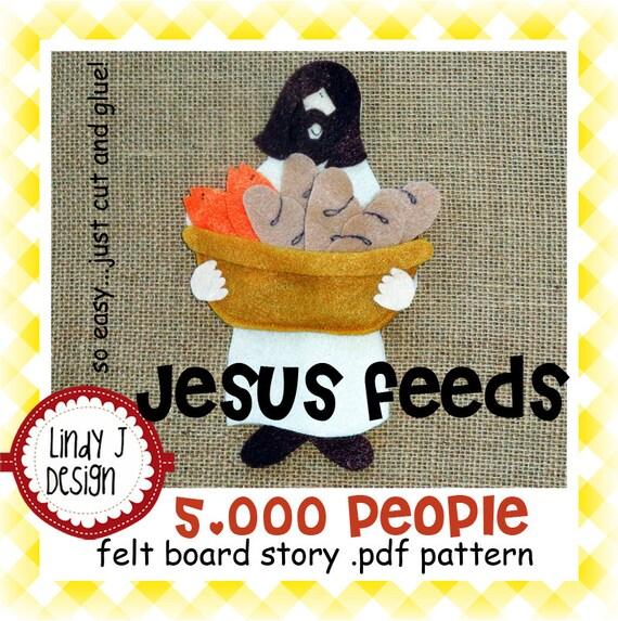 Jesus Feeds 5000 People Bible Story Flannel Felt Board PDF