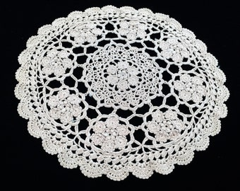 Crocheted Doily. Vintage Cotton Lace Doily. Round Crocheted Doily. Round Ecru (Natural Cotton) Coloured Doily RBT3076