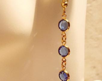 Sapphire Earrings, Sapphire Blue, Swarovski Crystal, Sapphire, Blue Swarovski, Crystal Earrings, Sapphire and Gold Earrings, Blue Crystal