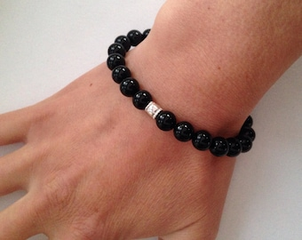 Black agate bracelet with Sterling silver focal bead and fancy toggle clasp, black bracelet, gift for her