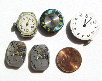 Steampunk Vintage Small Watch Movements and Parts Lot (ct 5)