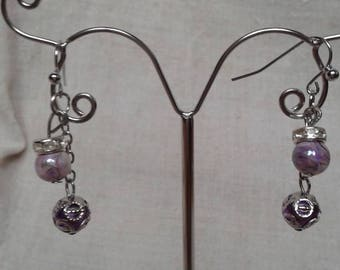 "Earrings ""pretty purple beads duo"""