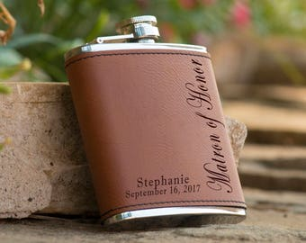 Personalized 6 oz. Leatherette Stainless Steel Flask - Matron of Honor Flask -  Maid of Honor Flask - Personalized Flask - Brown Flask