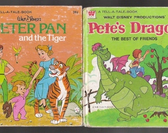 2 Whitman Tell A Tale Books Walt Disneys Peter Pan Petes Dragon Vintage Childrens 1970s Kids Collectilbes Gifts for Her