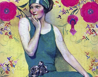 GORGEOUS Iconic Art Deco Flapper Vintage 1920s Illustration. Jazz Age Flapper Girl. Digital Flapper Download.