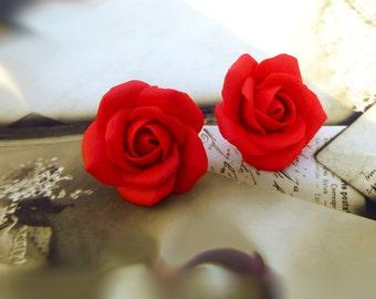 Red earrings Scarlet earrings Red Stud Earrings Rose earrings Flowers earrings Cute earrings Gift for women Floral earrings Red jewelry