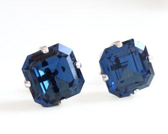 Navy Blue Crystal Post Earrings - Navy earrings - navy blue stud earrings - blue stud earrings