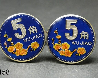 China coin cufflinks 5 Jiao Plum Blossom  blue red black 20mm