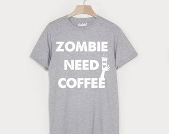Zombie Need Coffee Men's Halloween T-Shirt