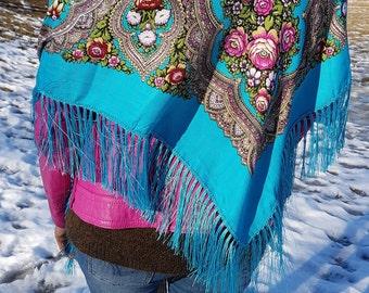 Russian scarf | floral scarf | babushka shawl | Ukrainian shawl |chale russe