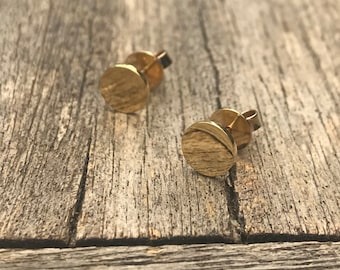 Stud Earrings 7 mm shiny 585 yellow gold