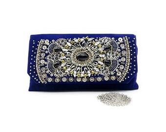 Velvet Blue Jewels Clutch Bag