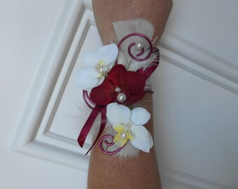 "Flowers for wedding - ivory and Burgundy - ""Orchid"" bracelet"