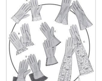 Sewing Pattern for Misses' Gloves in Six Styles, Historical Styles for Costumes, Butterick Costume Pattern 6398, Cosplay, Costume Gloves