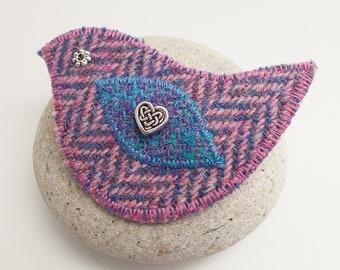 Lilac Herringbone Harris Tweed Bird Brooch - Lilac and Blue - Tweed Birdie - Pin - Shawl Pin - Cloak Clasp - Cardigan Closure - Bird Badge