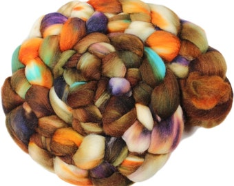 Squirrel Nest - hand-dyed merino wool and silk (4 oz.) painted combed top