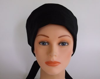 Solid Black Tie Back - Womens surgical scrub cap, Scrub hat, Nurse cap, 66+900b